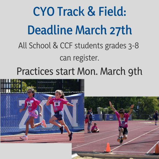 CYO Track & Field: Deadline Sept. 13th